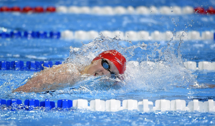 katie ledecky swims during the womens 400 meter freestyle preliminaries at the us olympic swimming trials monday june 27 2016 in omaha neb