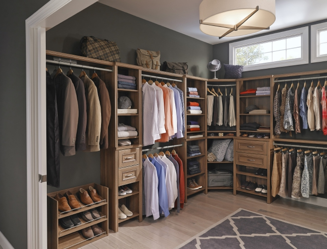 closet system available at Home Depot that offers a mix of hanging  space  open shelving and closed storage  perfect for quickly converting a  spare room. How to convert a spare room into a dream closet