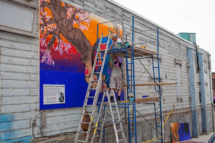 Downtown students begin work on 36 foot mural visible for 6 blocks from downtown mural