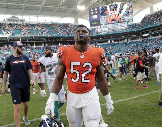 4fad87ecb28 In this Oct. 14, 2018 photo Chicago Bears outside linebacker Khalil Mack (52)  walks off the field at the end of an NFL football game against the Miami ...