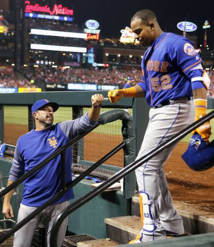 best service cc133 ec8ad Callaway stays with Mets; Céspedes breaks ankle on ranch