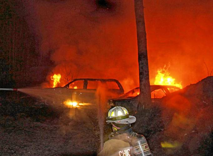 several vehicles destroyed after fire reignites at loudon