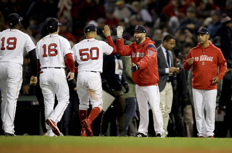 Bats and bullpen deliver, Red Sox beat Astros, 7-5, tie ALCS