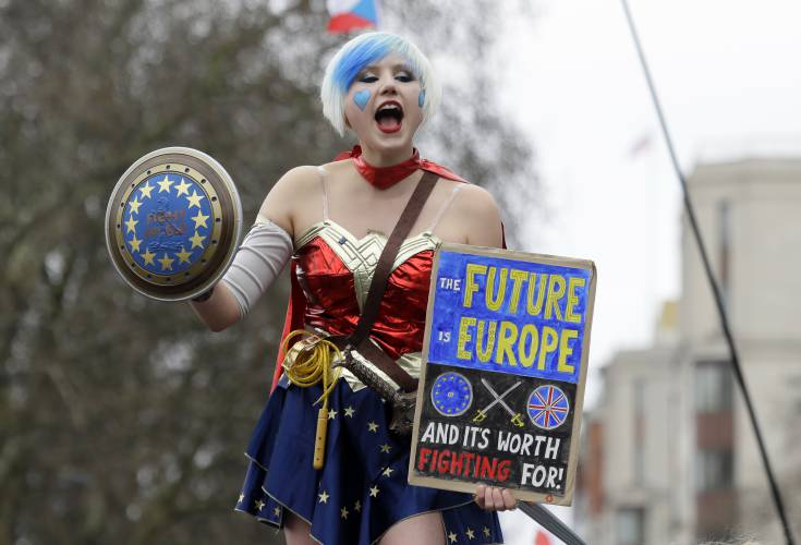 A Demonstrator Holds A Holds A Poster During A Peoples Vote Anti Brexit  March In London, Saturday, March 23, 2019. The March, Organized By The  Peopleu0027s Vote ...