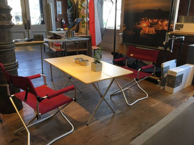 This July 18, 2017 Photo Taken At The REI Store In The Soho Neighborhood Of  New York, Shows A Folding Bamboo Table And Red Folding Chairs, ...