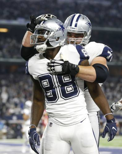 4d0953e3d86 Dallas Cowboys wide receiver Dez Bryant (88) and guard Zack Martin, rear,  celebrate a touchdown scored on a catch by Bryant in the second half of an  NFL ...