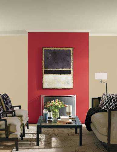 PPG Paints' Red Gumball paint color on the wall of a room. Red Gumball  packs a stylish punch; use on an accent wall or go all out and do the whole  room.