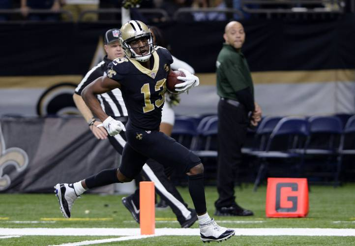 New Orleans Saints wide receiver Michael Thomas (13) scores on a 72 yard  touchdown reception in the second half of an NFL football game against the  Los ... 8ed5afbc6