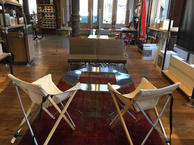 This July 18, 2017 Photo Taken At The REI Store In The Soho Neighborhood Of  New York, Shows Folding Furniture, All Made By The Japanese Company Snow  Peak, ...