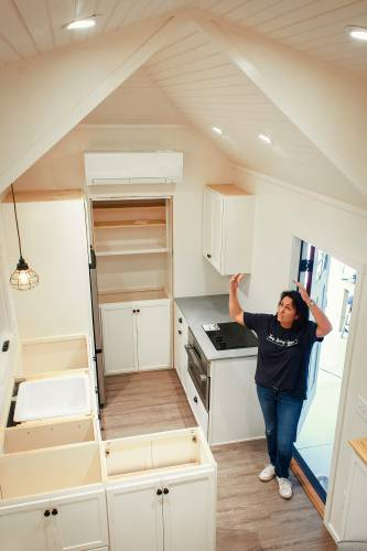 Co Owner And Designer Sue Schoenfeld Notes The Design Of The Ceiling Of A Tiny  House Being Built At Tiny Living Spaces In Henniker On Thursday, Aug.