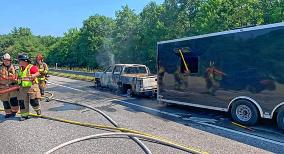 No severe injuries as pick-up truck catches fire on I-93 north in Bow