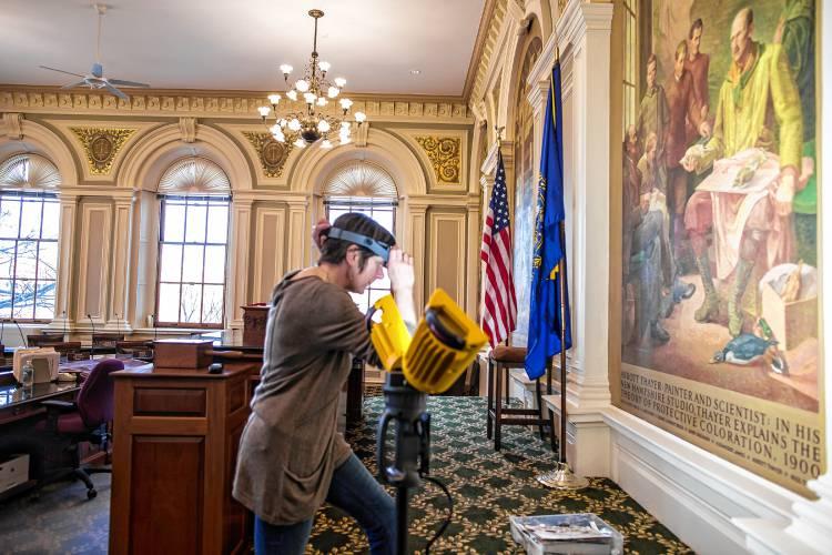Martha Of Great Works Painting Restoration Is Finishing The Murals At New Renovated Senate Chambers State House Look