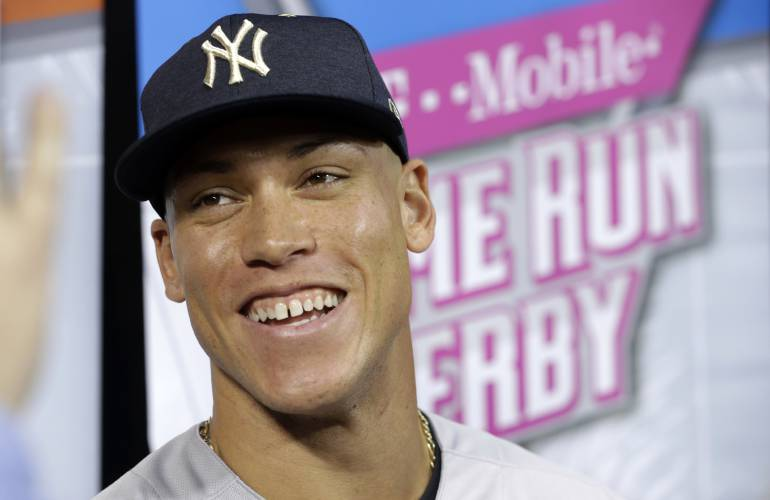3be40eb0d70 New York Yankees  Aaron Judge talks during a media availability before the  All-Star Home Run Derby