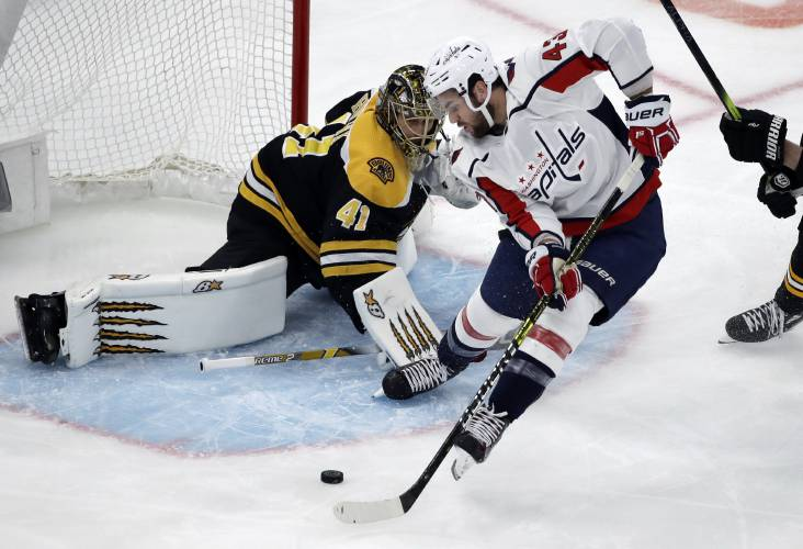 60c4ac8a806 Washington Capitals right wing Tom Wilson (43) shoots but cannot score  against Boston Bruins goaltender Jaroslav Halak (41) during the first  period of an ...