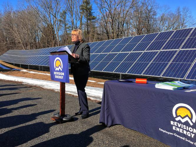 Hassan jabs Sununu at solar array dedication in their hometown