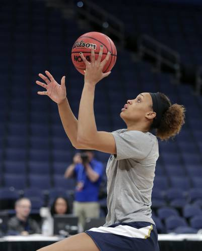 new style 57c71 e267c Notre Dame s Brianna Turner makes a shot during practice at the women s  Final Four NCAA college basketball tournament, Thursday, April 4, 2019, in  Tampa, ...