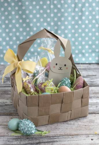 Get creative with easter baskets an upcycled diy easter basket made from four brown paper grocery bags cut into strips and woven together fresh takes on baskets for kids include a heavy negle Image collections