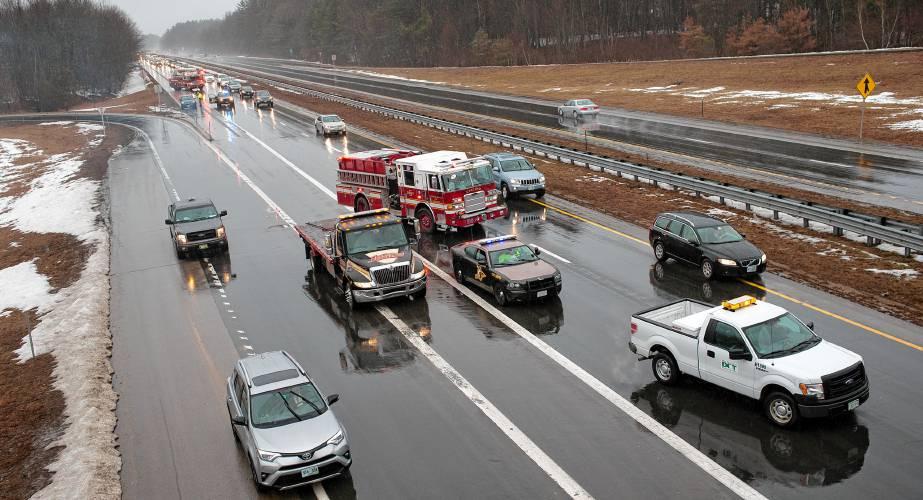PHOTOS: Accident snarls traffic on I-93