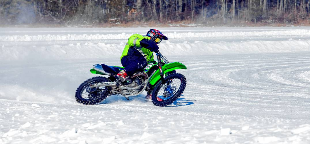Photos On Frozen Pond Motorcycle Racers Have Ice In Their Veins