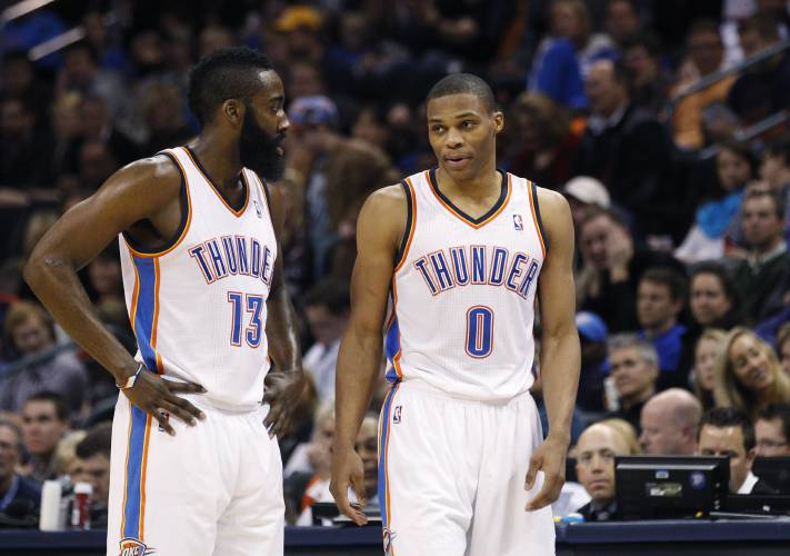 timeless design 00a4b 7d726 Analysis: Westbrook, Harden will need to change their games