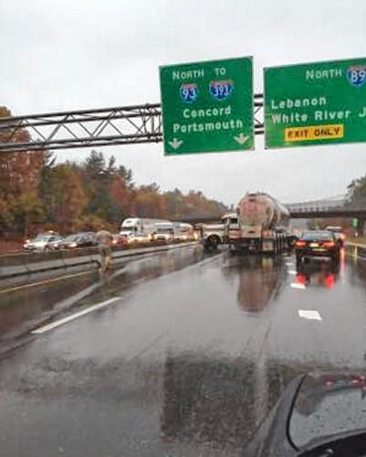 Jackknifed trailer on northbound I-93 near I-89 snarls traffic for hours