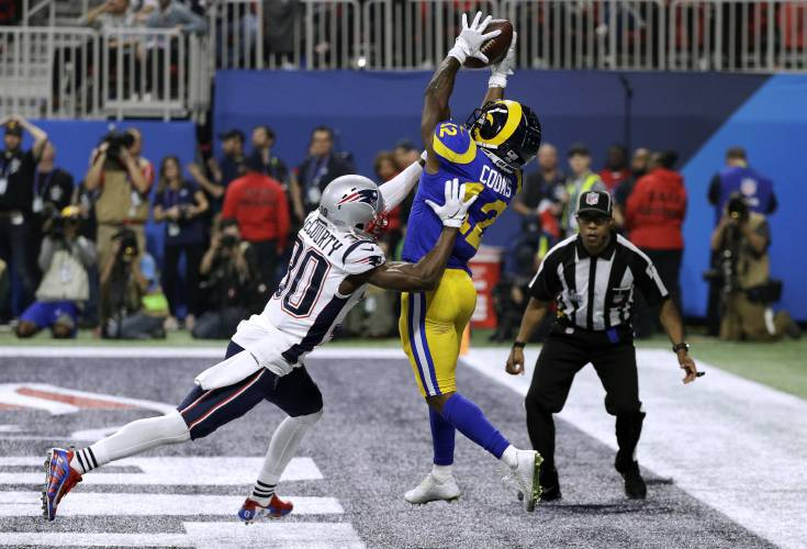 New England Patriots  Jason McCourty (30) breaks up a pass intended for Los  Angeles Rams  Brandin Cooks (12) during the second half of the NFL Super  Bowl 53 ... 467cee639