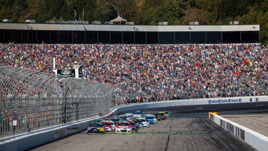 Drivers Cross The Starting Line During The Ism Connect 300 Nascar Sprint Cup Series Auto Race At New Hampshire Motor Speedway In Loudon On Sunday Sept