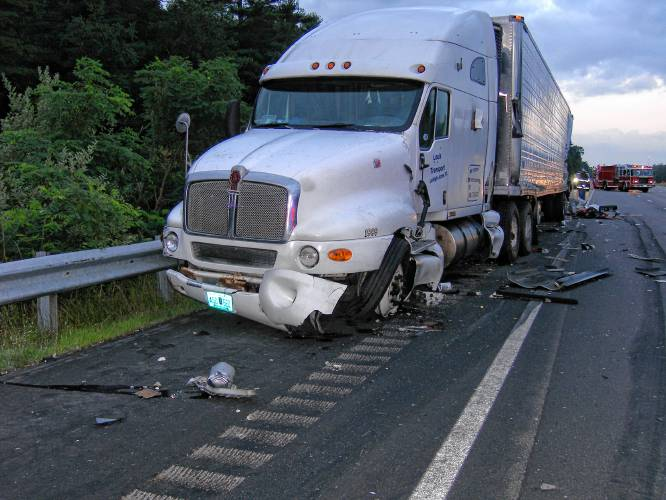 Driver hospitalized after two tractor-trailers collide on I-95 in N H