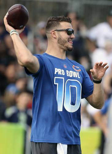 47e3882a6f3 NFC Chicago Bears quarterback Mitchell Trubisky throws during NFL football  Pro Bowl practice in Orlando, Fla., Wednesday, Jan. 23, 2019.
